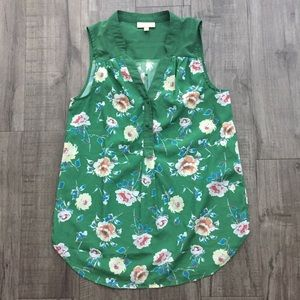 ModCloth Green Floral Sleeveless Button Front Top